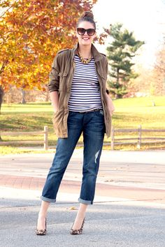 Fashion Blog, Fashion Blogger, Personal Style Blogger, Outfits Blogger, Jessica Quirk, What I Wore blog, What I Wore, @whatiwore, Striped Tee, Army Jacket Outfits, How to wear boyfriend jeans, what shoes to wear with boyfriend jeans, Leopard heels, glam weekend, bloomington IN, Midwest blogger, Denim + Supply Ralph Lauren, Gap, 7 for all mankind, BCBG, TJMaxx