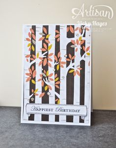 Crystal Effects, gems and a sentiment banner transform a snippet of halloween DSP into an autumnal birthday card! - Vicky Hayes