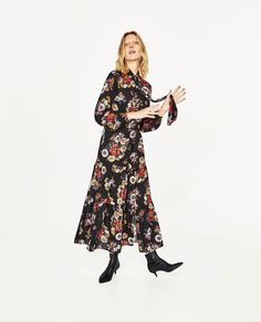 Image 1 of LONG DRESS WITH FLORAL PRINT from Zara