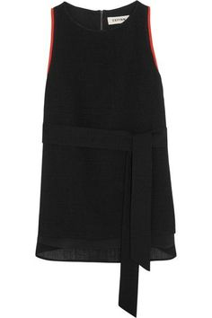 Black voile Zip fastening along back 60% triacetate, 40% polyester; trim: 100% polyester; lining: 60% viscose, 40% polyester Dry clean Belt Tying, Elegant Outfit, Black Tops, Fabric, Shirts, Clothes, Dresses, Athletic Tank Tops, Fashion