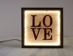 """New Hand-Painted """"LOVE"""" Vintage Lightbox Lighted Sign / Wall or Table Lamp / Night Light / Industrial Rustic / Reclaimed Plastic"""