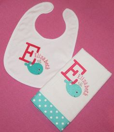 Personalized Pink and turquoise Whale Burp Cloth and Bib Set