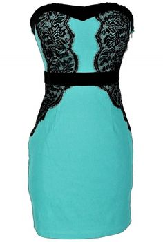 Strapless Fitted Lingerie-Inspired Black Lace Dress in Teal