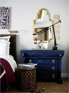 Possible Colour Scheme? Love the rich blue and burgundy together with natural tones of floor and bedside table. Would these colours work in my new dining room? With the storm blue buffet and hutch, natural oak table and burgundy suede Parsons chairs?