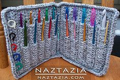 DIY Free Pattern and YouTube Video Tutorial Crochet Hook Holder Hooks Case Wallet Written by Priscilla Hewitt and Video by Donna Wolfe from Naztazia