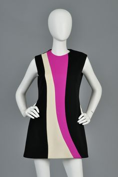 Pierre Cardin 1960s Color Blocked Couture Tunic Dress image 3