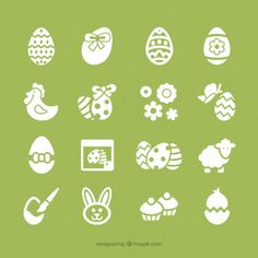 Easter icons collection Free Vector