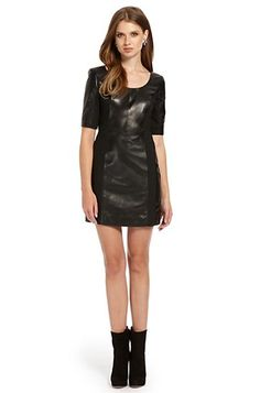 Lambskin Leather Stretch 'Lidia' Dress, Black