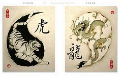 Ying yang. Tiger & dragon