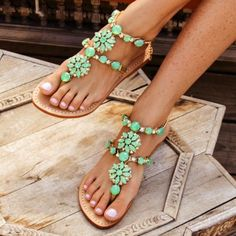 Mystique Sandals features unique hand crafted leather women's sandals that are embellished with jewelry Cute Sandals, Beach Sandals, Cute Shoes, Me Too Shoes, Spring Sandals, Summer Shoes, Summer Feet, Spring Summer, Mystique Sandals