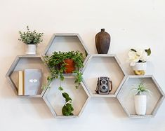 Hexagon Shelves Honeycomb Shelf Floating Hexagon Shelf | Etsy Geometric Shelves, Honeycomb Shelves, Hexagon Shelves, Rustic Shelves, Wood Shelves, Shelving, Essential Oil Shelf, Floating Shelves Bathroom, Corner Shelves