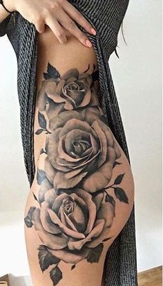 Roses. Flowers. Hip. Side. Thigh.
