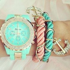 sparkles gold jewels girly sparkle cute watch pastel green light anchor bracelet anchor pink