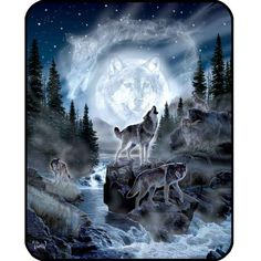 The Moon Wolf DB5255 Korean mink blanket is part of our Signature Collection blankets. Signature Collection Korean mink blankets are among the heaviest and best quality Korean mink blankets. Each one features a licensed design from one of several wildlife artists. Made of an acrylic blend. Easy Care, machine wash and dry. Queen Size approx. 200x240 cm or 79x95 in. Buy online www.TheBlanketCompany.com or Call at (801) 280-6200.