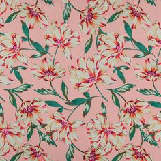 Vevet sateng rosa med store blomster Matcha, Texas, Satin, Prints, Fabrics, Wallpapers, Knitting, Tejidos, Tricot