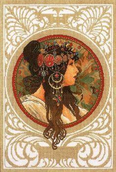 0 point de croix femme brune art deco - cross stitch  art deco brown haired lady