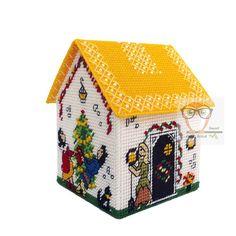 Plastic canvas HOUSE FREE pattern christmas house cross stitch
