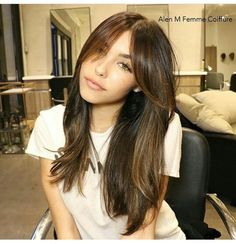 Hair♥ Hair♥ Related posts: Stunning hair color ideas for long hairstyles in 2018 DIY Hair Tutorial Video Exclusive short, edgy hair cuts with a long bangs that will make you … – … I could see doing this with curled hair to add volume. Side Bangs With Long Hair, Long Bangs, Long Hair Cuts, Bangs For Round Face, Hairstyles With Bangs, Pretty Hairstyles, Side Fringe Hairstyles, Hairstyles 2016, Medium Hair Styles
