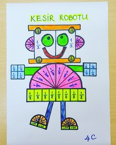 Kesir robotu....Cannur HAZNEDAR 3rd Grade Fractions, Fourth Grade Math, Math Fractions, Mental Maths Worksheets, Math Resources, Math Activities, Fraction Activities, Math Sheets, Math Talk
