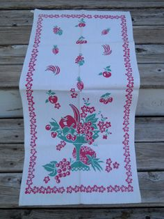 1930's Vintage Kitchen towel Red and Green Fruit by VintageVeg
