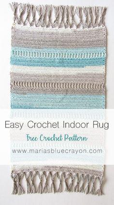 Crochet Indoor Rug | Free Crochet Rug Pattern | Free Crochet Mat Pattern | DIY Beach Rug | Rug with Fringe Tassels | Caron Cotton Cakes | Maria's Blue Crayon