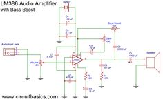 Build a Great Sounding Audio Amplifier (with Bass Boost) from the LM386 - Amplifier With Bass Boost Schematic