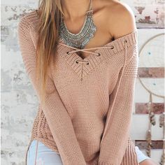 Long Sleeves Sweater V Neck Knitting Bandage Pullover