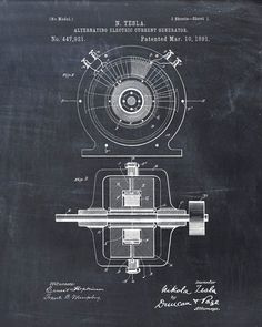 Patent Print Tesla Generator Tesla Wall Art por VisualDesign