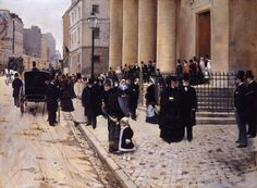 When this painting was exhibited in the Salon of 1877, it was seen as a document of contemporary Parisian life. Béraud (French, St. Petersburg, 1849 - Paris, 1936) depicts a view of the rue du Faubourg St.-Honoré, which had recently become a fashionable shopping street. The church was designed in the eighteenth century by the architect J.F. Chalgrin. [Metropolitan Museum of Art, New York - Oil on canvas, 59.4 x 81 cm] gandalfsgallery.blogspot.co.uk/2012/11/jean-beraud-church...