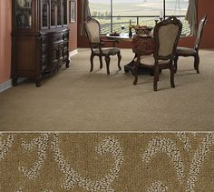 Shaw Anso nylon carpet in a distinctive pattern construction. Style Cascade Garden in color Chestnut.