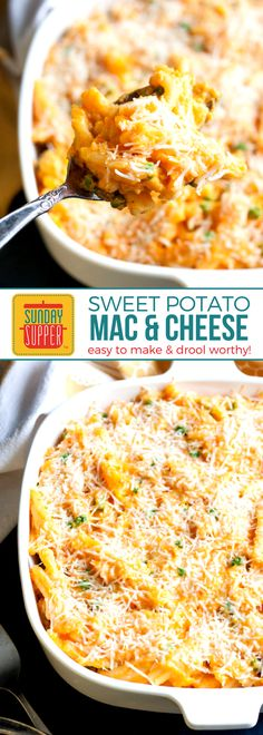 Meatless Mondays just got more delicious!! This Sweet Potato Mac and Cheese Casserole recipe is so easy to make and will make all the sweet potato lovers drool. It is a meatless casserole that can stand on its own as a meal but can also be the perfect side dish to serve up at dinner. #SundaySupper #MeatlessMonday #CasseroleRecipes #MacandCheese #SweetPotatoRecipes