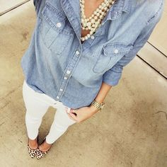 Chambray + pearls + white denim + leopard pumps @liketoknow.it http://liketk.it/1uIep #liketkit - mens grey button down shirt, buttons for shirts, short sleeve button down men's shirts *ad
