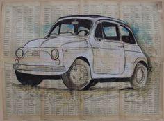 """Saatchi Art dell'artista Carlo Capone;  Disegno, #art """"Cinquecento- Fiat"""""""