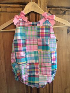 Baby girl bubble in pink madras with bows by gigibabies on Etsy, $35.00