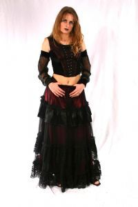 Gothic Top~Classical Gothic Velvet Satin & Lace SleevelessTop~Skirt also available~By Bares~76-325~