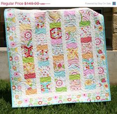 SALE Simply Sweet Baby Girl Quilt Red Blue Aqua Yellow Blanket