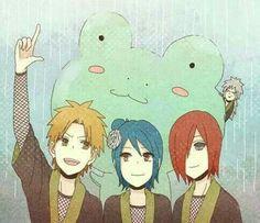 Yahiko, Konan, Nagato, Jiraiya, frog, raining, funny, cute, young, childhood; Naruto