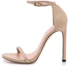 Stuart Weitzman Nudist 110mm Sandals ($390) ❤ liked on Polyvore featuring shoes, sandals, cut out sandals, strap sandals, cutout sandals, leather sandals and ankle strap sandals