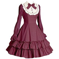 Partiss Women Cotton Burgundy Bowknot Long Sleeve Classic Sweet Lolita Dress, M, Burgundy Partiss http://www.amazon.com/dp/B01C8PJFVE/ref=cm_sw_r_pi_dp_kxo3wb0VX9A19