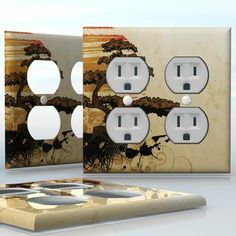 DIY Do It Yourself Home Decor - Easy to apply wall plate wraps | Bonsai Sunset  Japanese landscape with tree and sun  wallplate skin sticker for 2 Gang Wall Socket Duplex Receptacle | On SALE now only $4.95