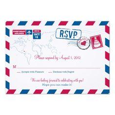 JAMAICA Air Mail Wedding RSVP Personalized Invites