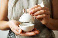Zucker Schüssel Keramik Hase, Hase-Box, Schmuck-box weiß, kristallin, handgemacht, rosa, transparent und weiß Erde