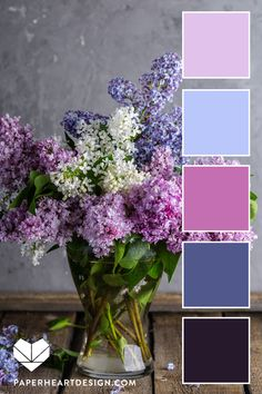 Color Palette: You Can Learn a Lot of Things From the Flowers — Paper Heart Design Color Schemes Colour Palettes, Colour Pallette, Color Palate, Color Combos, Purple Color Schemes, Pantone, Lilac Flowers, Colorful Flowers, Rgb Palette