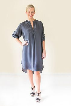 Silk Shirt Dress, T Shirt, Charcoal, Spring Summer, Collections, Women's Fashion, Casual, Dresses, Products