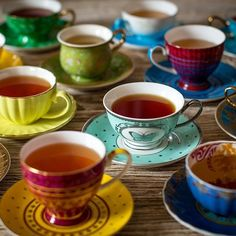Brightly colored teacups