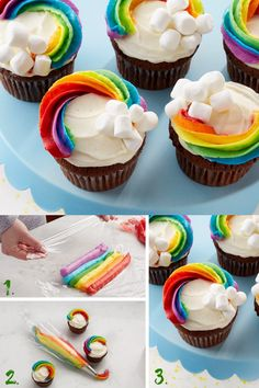 Home Decor Entryway Irish cream chocolate cupcakes frosted with a rainbow for St. Theyre decorated with a new frosting technique thats easier than you think! Cupcake Recipes, Cupcake Cakes, Dessert Recipes, Irish Cream, Köstliche Desserts, Delicious Desserts, Yummy Treats, Sweet Treats, St Patricks Day Food