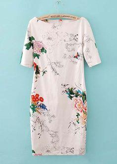 Vogue Boat Neck Flower Print Short Sleeve White Dress