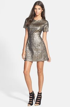 Free shipping and returns on ASTR Jacquard Fit & Flare Dress at Nordstrom.com. Asymmetrical triangular stitching textures the high-shine metallic fabric of a fit-and-flare minidress finished with a skin-baring cutout back.