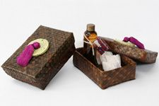 Souvenirs for female sponsors. Native spa sets (lemon grass scent body  oil and chamomile tea)