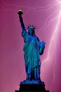 Statue of Liberty and lightning, New York. Still standing strong.(God supplied the fireworks. #Happy 4th)
